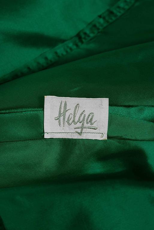 1950's Helga Emerald-Green Beaded Satin Strapless Bombshell Evening Formal Gown 6