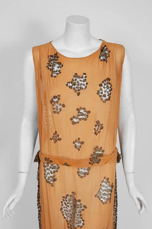 1920's Goupy Haute-Couture Tangerine Silk & Metallic-Gold Lace Flapper Dress 2