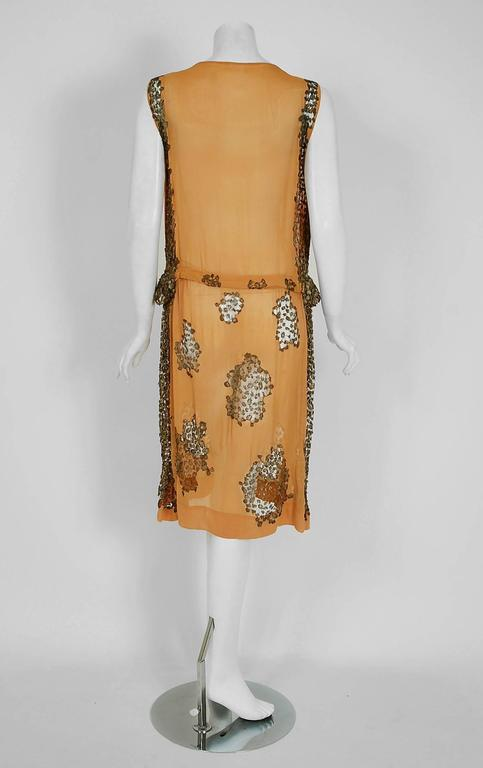 1920's Goupy Haute-Couture Tangerine Silk & Metallic-Gold Lace Flapper Dress 5