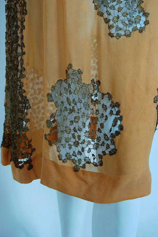 1920's Goupy Haute-Couture Tangerine Silk & Metallic-Gold Lace Flapper Dress 4