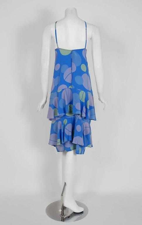 Vintage 1970's Karl Lagerfeld for Chloe Periwinkle Print Silk Asymmetric Dress For Sale 1
