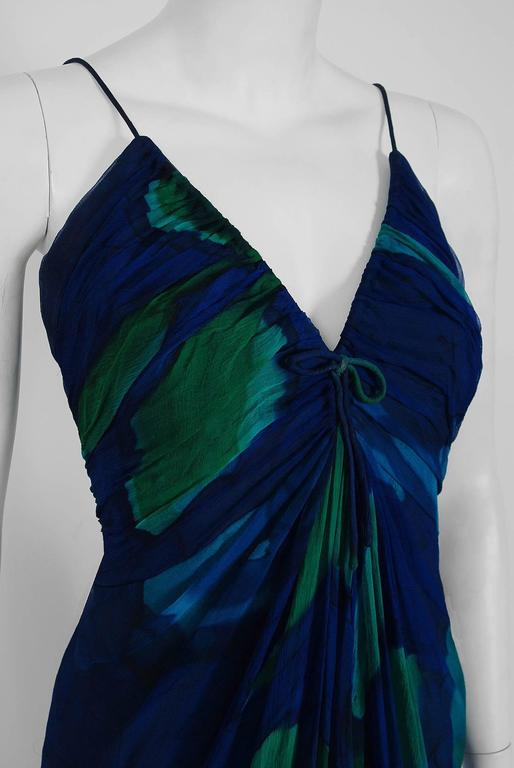 Black 1970's Rappi Watercolor Blue Green Abstract Print Silk Ruched Goddess Maxi Dress For Sale