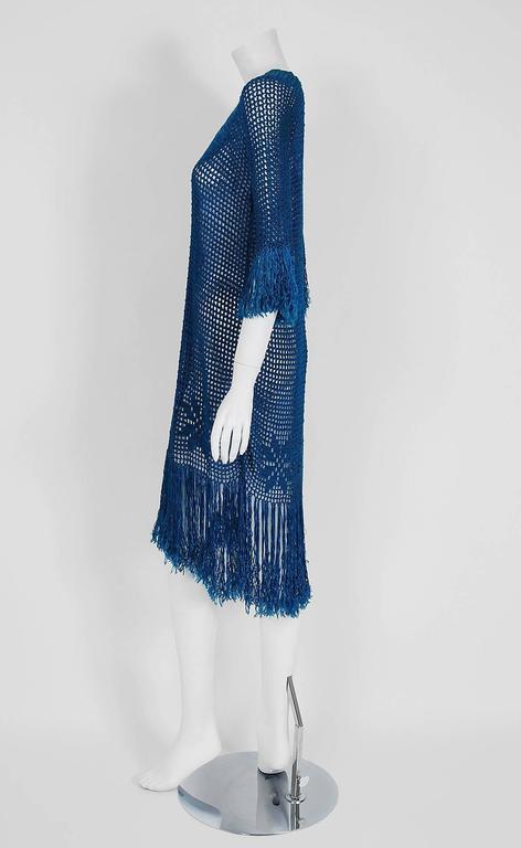 1920 S Turquoise Blue Crochet Silk Knit Novelty Butterfly