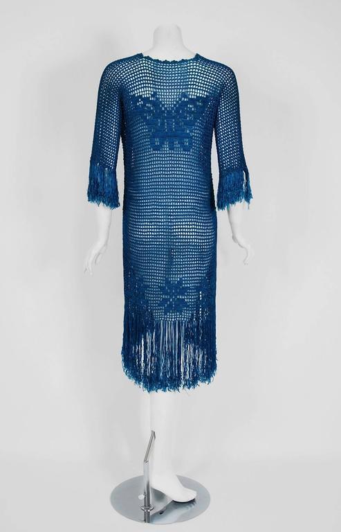 1920's Turquoise-Blue Crochet Silk-Knit Novelty Butterfly Fringe Flapper Dress  7