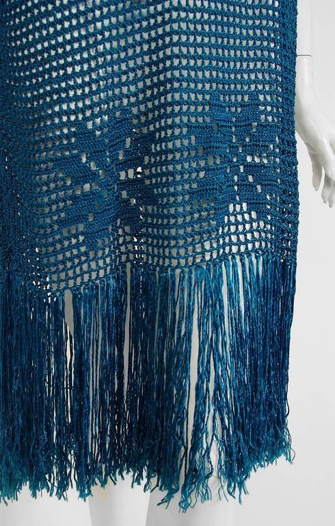 1920's Turquoise-Blue Crochet Silk-Knit Novelty Butterfly Fringe Flapper Dress  6