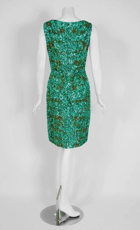 c20db21a31 Women s 1960 s Emerald-Green Sequin Beaded Novelty Satin Hourglass Cocktail  Party Dress For Sale
