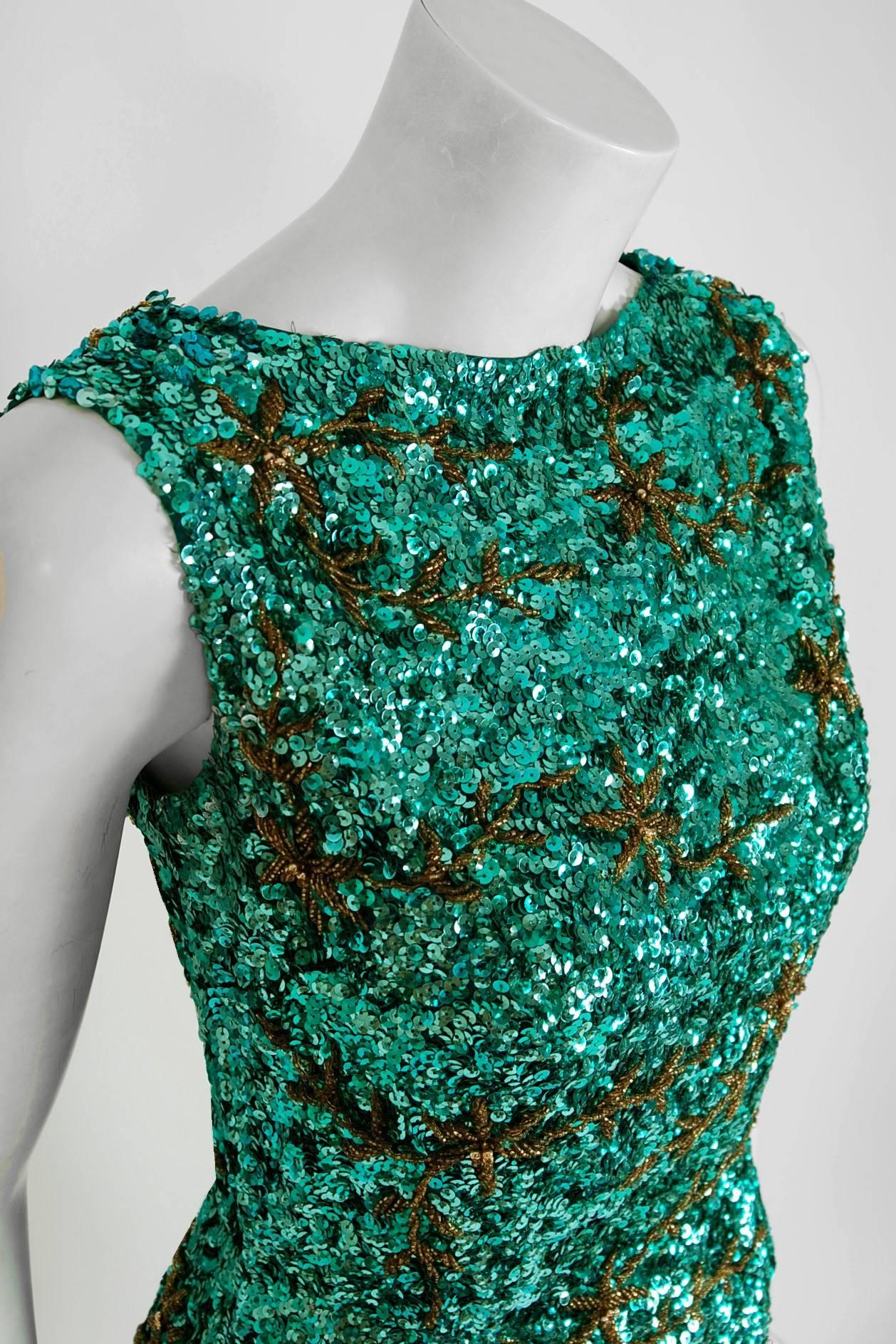 09b9e30392 1960 s Emerald-Green Sequin Beaded Novelty Satin Hourglass Cocktail Party  Dress at 1stdibs