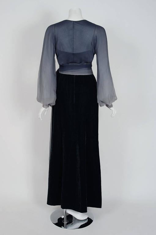 Women's Vintage 1970 Christian Dior Haute Couture Ombre Chiffon Billow-Sleeve Ensemble For Sale