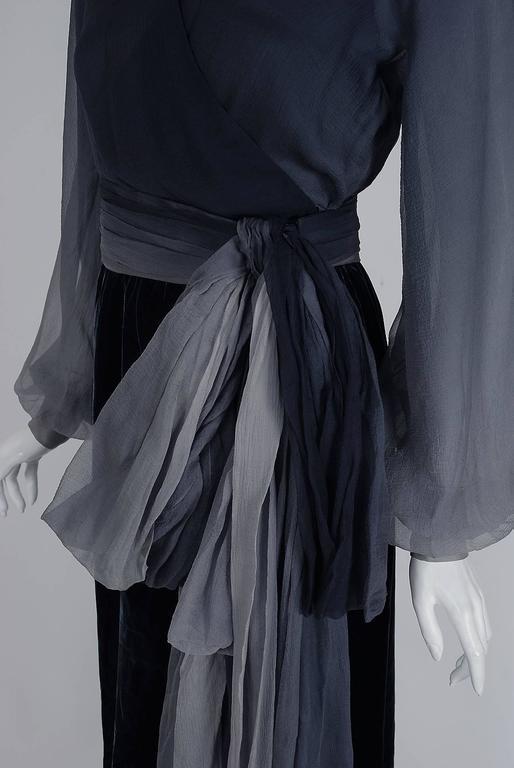 Black 1970 Christian Dior Haute-Couture Ombre Chiffon & Velvet Billow-Sleeve Ensemble For Sale