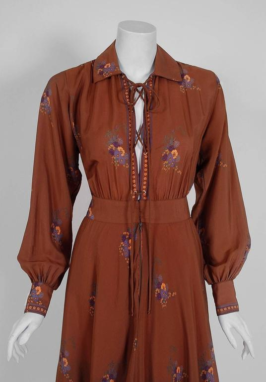1970's Ted Lapidus Couture Cinnamon Floral Print Lace-Up Billow Sleeve Dress 2
