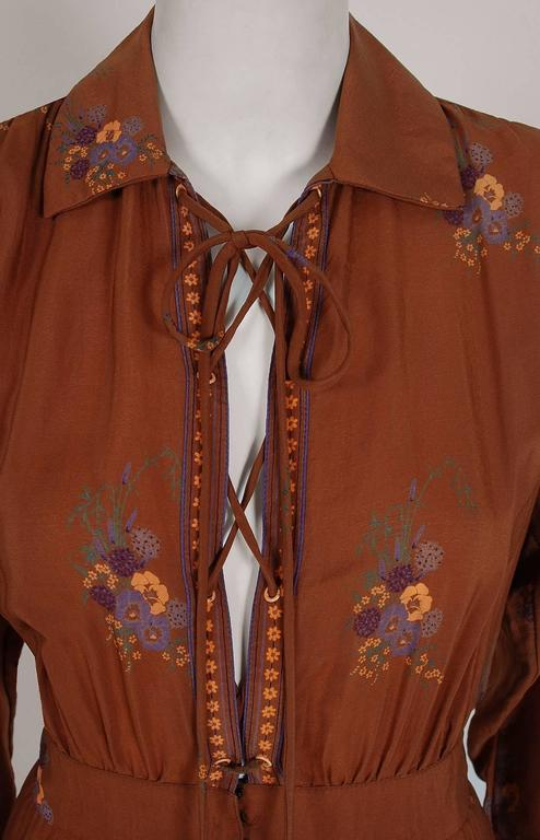 1970's Ted Lapidus Couture Cinnamon Floral Print Lace-Up Billow Sleeve Dress 3