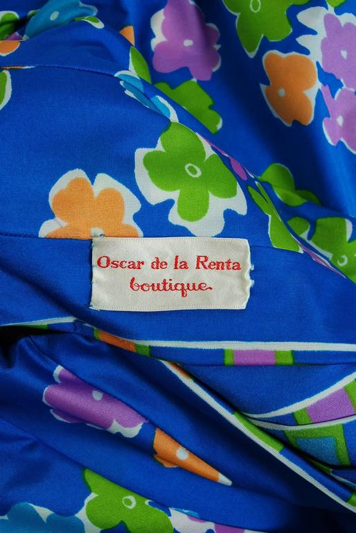 Vintage 1977 Oscar de la Renta Colorful Graphic Print Halter Backless Maxi Dress For Sale 1