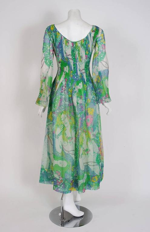 1968 Pierre Cardin Naked-Ladies Novelty Print Pleated Silk Bell-Sleeve Dress  6
