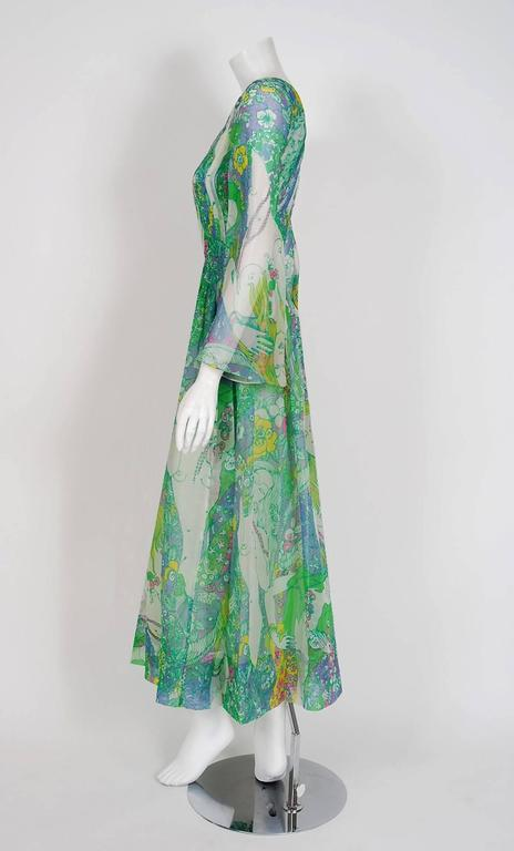1968 Pierre Cardin Naked-Ladies Novelty Print Pleated Silk Bell-Sleeve Dress  2