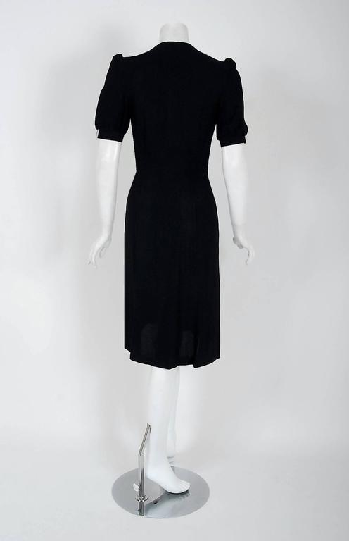 1970's Ossie Clark Traffic-Light Block Color Moss-Crepe Puff Sleeve Dress In Excellent Condition For Sale In Beverly Hills, CA