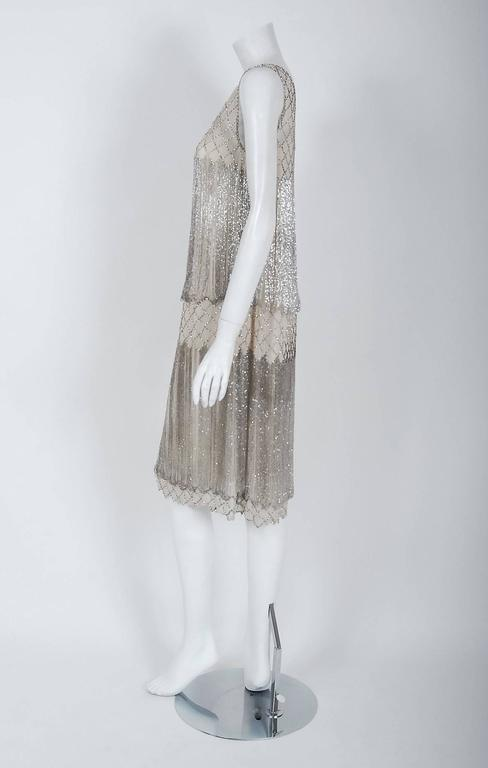 Women's 1920's French Couture Beaded Fringe Ivory Silk Chiffon Cut-Out Flapper Dress  For Sale