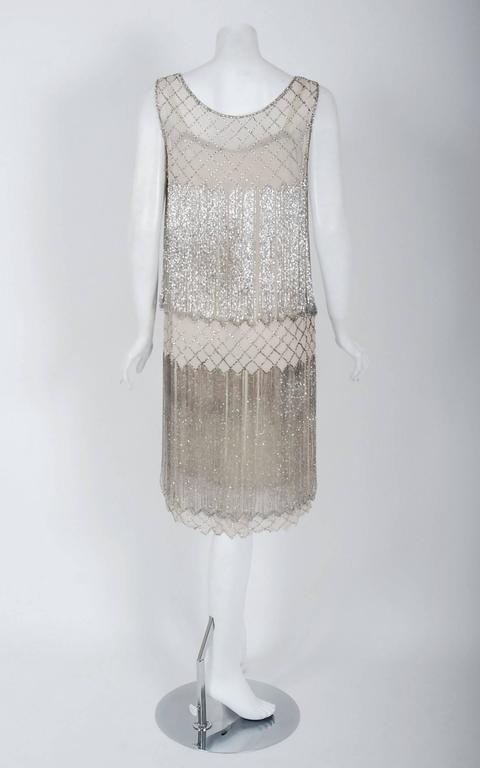 1920's French Couture Beaded Fringe Ivory Silk Chiffon Cut-Out Flapper Dress  For Sale 1