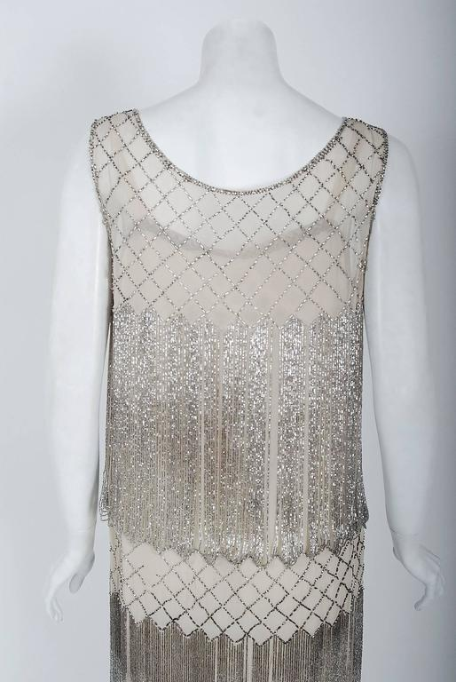 1920's French Couture Beaded Fringe Ivory Silk Chiffon Cut-Out Flapper Dress  For Sale 2