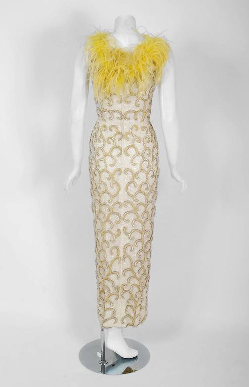 1960's Ivory & Yellow Beaded Sequin Silk Ostrich-Feather Collar Hourglass Gown  6