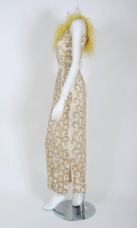 1960's Ivory & Yellow Beaded Sequin Silk Ostrich-Feather Collar Hourglass Gown  5