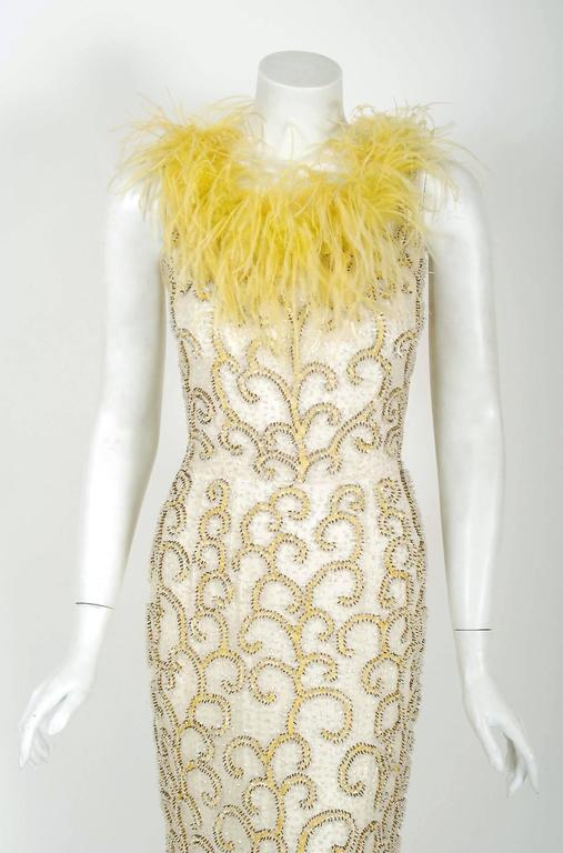 1960's Ivory & Yellow Beaded Sequin Silk Ostrich-Feather Collar Hourglass Gown  2