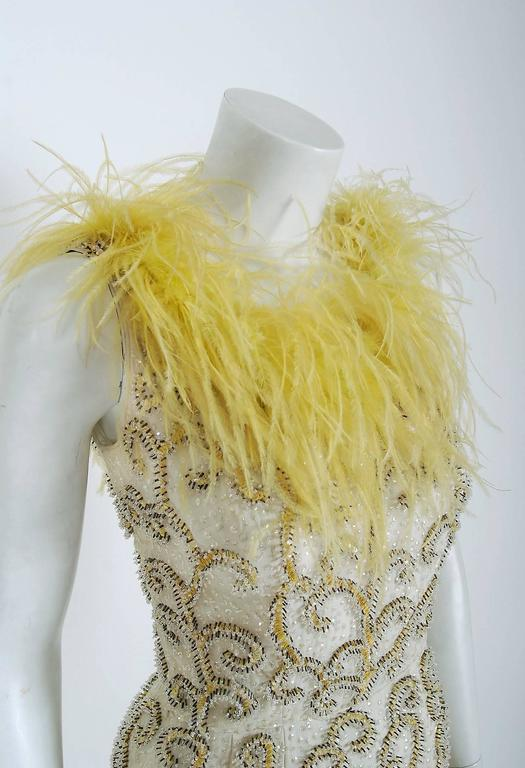 1960's Ivory & Yellow Beaded Sequin Silk Ostrich-Feather Collar Hourglass Gown  3