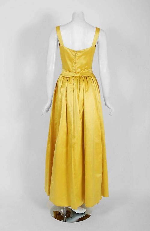 1965 Oscar de la Renta for Jane Derby Yellow Silk Gown & Quilted Tassel Jacket  For Sale 1
