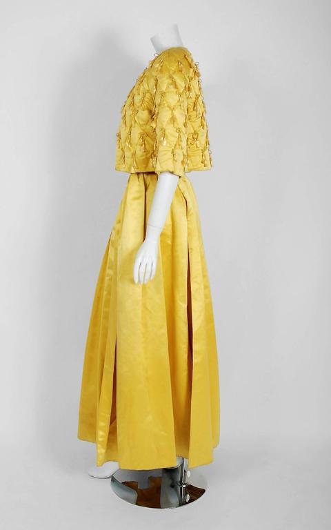 1965 Oscar de la Renta for Jane Derby Yellow Silk Gown & Quilted Tassel Jacket  For Sale 2