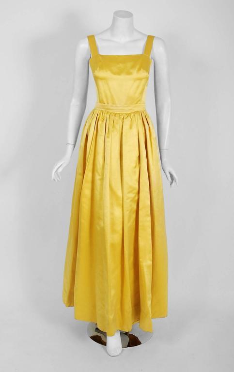 Women's 1965 Oscar de la Renta for Jane Derby Yellow Silk Gown & Quilted Tassel Jacket  For Sale