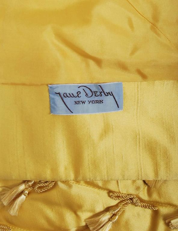 1965 Oscar de la Renta for Jane Derby Yellow Silk Gown & Quilted Tassel Jacket  For Sale 4