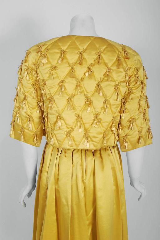 1965 Oscar de la Renta for Jane Derby Yellow Silk Gown & Quilted Tassel Jacket  For Sale 3