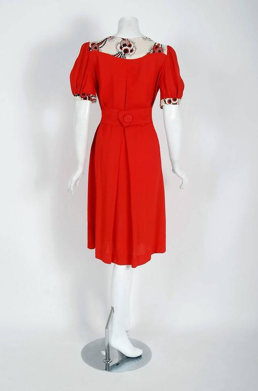 Vintage 1972 Ossie Clark Red Crepe Celia Birtwell Floral Print Puff-Sleeve Dress For Sale 1