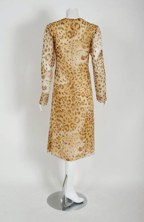 Women's 1977 Hanae Mori Couture Leopard Animal Print Chiffon Rhinestone Plunge Dress For Sale