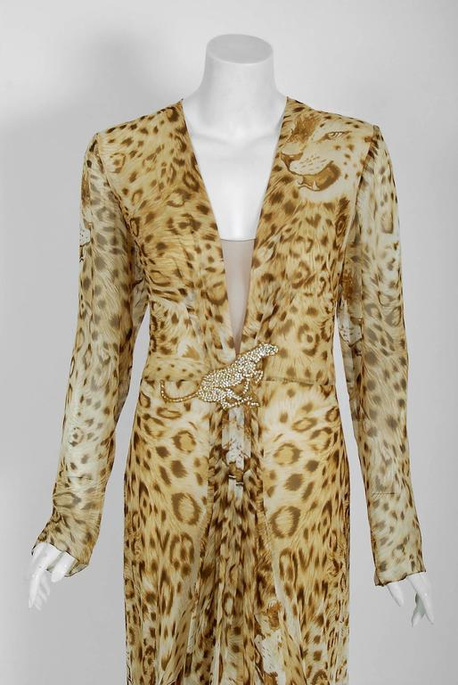 Breathtaking 1977 museum quality leopard print silk-chiffon dress by Hanae Mori. Whilst on a Paris holiday in 1960, Mori had a fateful fitting with Coco Chanel. She claimed this meeting changed her life and she challenged herself to realize her own