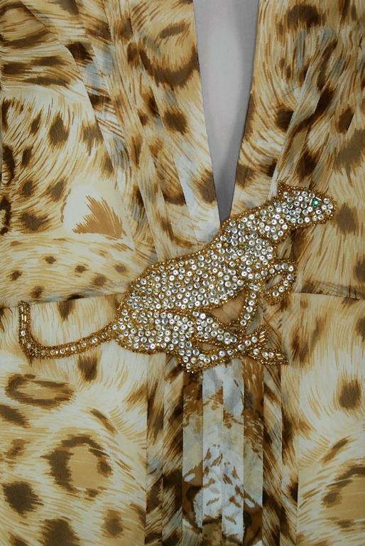 Brown 1977 Hanae Mori Couture Leopard Animal Print Chiffon Rhinestone Plunge Dress For Sale