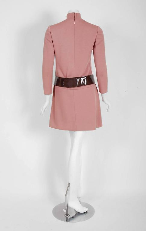 1967 Pierre Cardin Mauve-Pink Wool Mod Pockets Space-Age Metal Belt Mini Dress 6