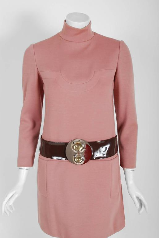 1967 Pierre Cardin Mauve-Pink Wool Mod Pockets Space-Age Metal Belt Mini Dress 2