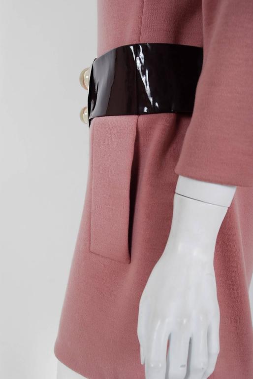 1967 Pierre Cardin Mauve-Pink Wool Mod Pockets Space-Age Metal Belt Mini Dress 5