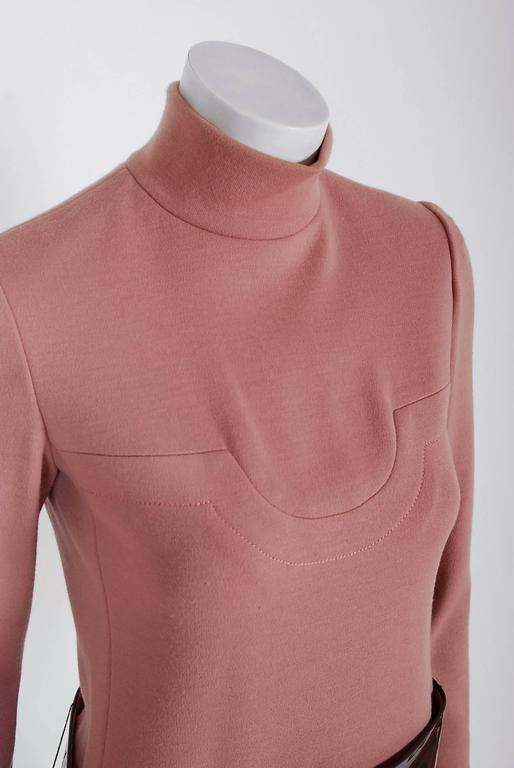 1967 Pierre Cardin Mauve-Pink Wool Mod Pockets Space-Age Metal Belt Mini Dress 3