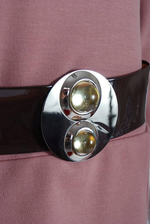 1967 Pierre Cardin Mauve-Pink Wool Mod Pockets Space-Age Metal Belt Mini Dress 4