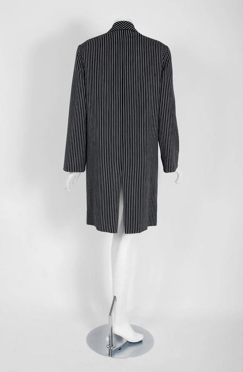 1940's Irene Black & White Deco Pinstripe Wool-Gabardine Crombie Jacket Coat For Sale 2