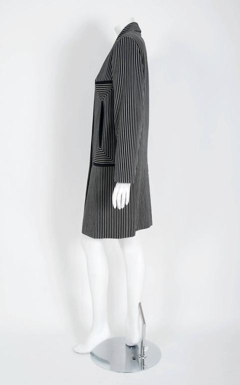 1940's Irene Black & White Deco Pinstripe Wool-Gabardine Crombie Jacket Coat For Sale 1