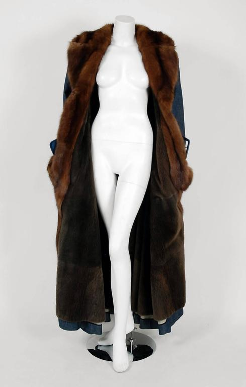 1970'S Galanos Couture Russian Sable-Fur & Denim Belted Maxi Princess Coat  5