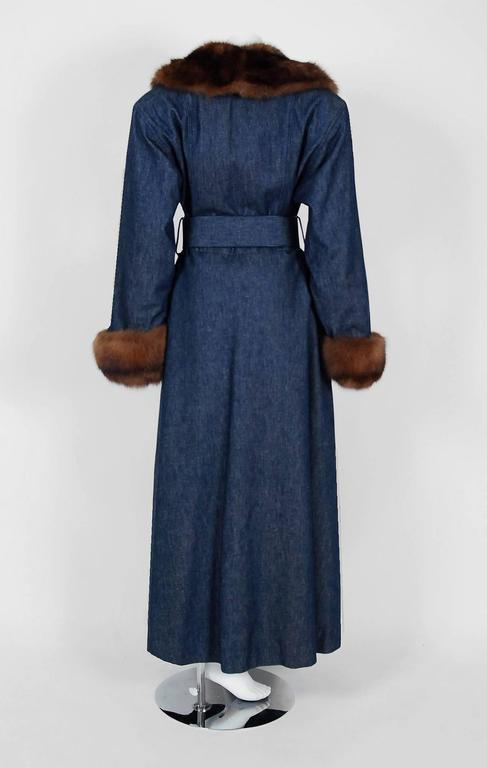 1970'S Galanos Couture Russian Sable-Fur & Denim Belted Maxi Princess Coat  6