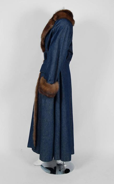 1970'S Galanos Couture Russian Sable-Fur & Denim Belted Maxi Princess Coat  2