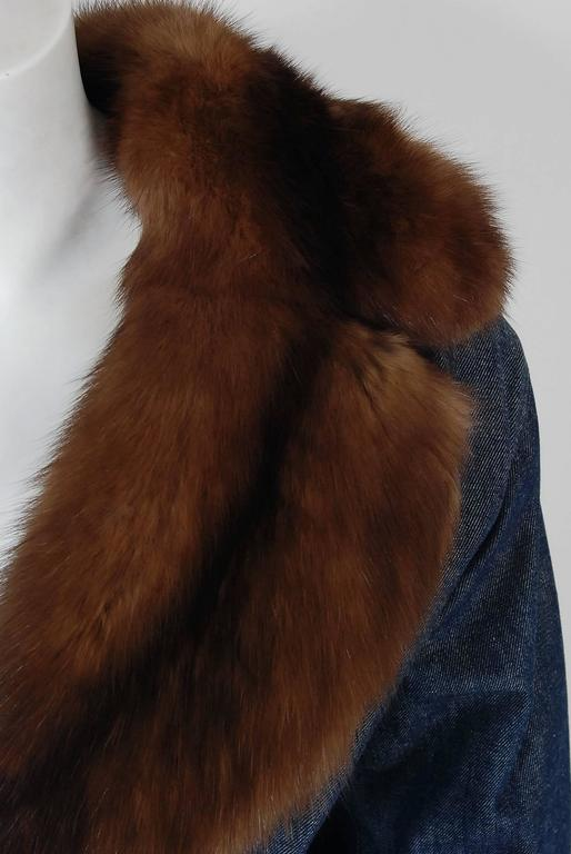 1970'S Galanos Couture Russian Sable-Fur & Denim Belted Maxi Princess Coat  4