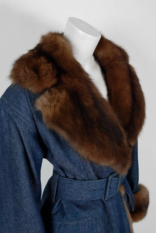 1970'S Galanos Couture Russian Sable-Fur & Denim Belted Maxi Princess Coat  3