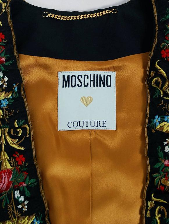 1990's Moschino Couture Colorful Floral Embroidered Black Silk Cropped Jacket   6