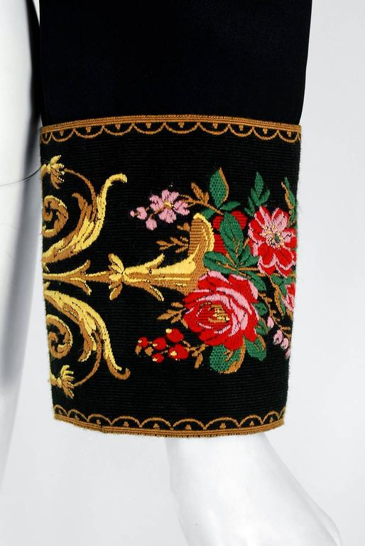 1990's Moschino Couture Colorful Floral Embroidered Black Silk Cropped Jacket   3