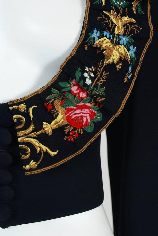 1990's Moschino Couture Colorful Floral Embroidered Black Silk Cropped Jacket   2